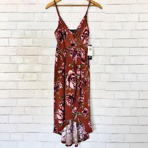 New As U Wish Red & Rose Floral Hi-Lo Dress